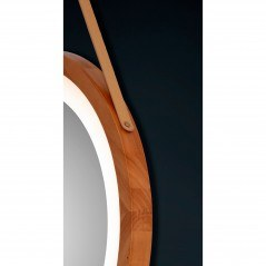 Espejo led redondo con marco de madera baño luz