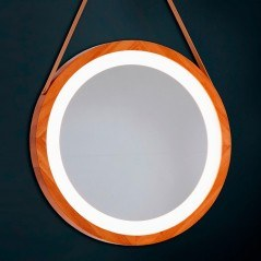 Espejo baño luz led redondo con marco de madera
