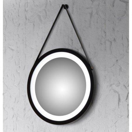 Espejo led redondo con marco de madera  negro baño luz