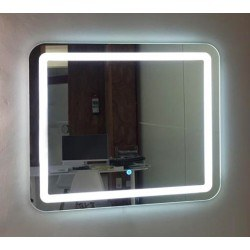 Espejo baño luz LED frontal con esquinas redondeadas