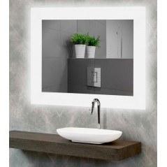 Espejo baño luz LED frontal con esquinas cuadradas Kone