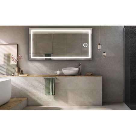 Espejo de baño luz led integrado cuadrado Cedrus